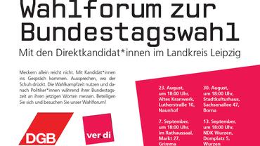 Wahlforum zur Bundestagswahl mit den Direktkandidat*innen im Landkreis Leipzig