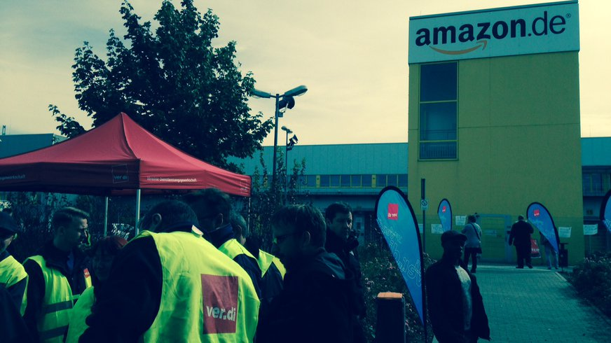 Streik bei amazon Leipzig 24.09.2014